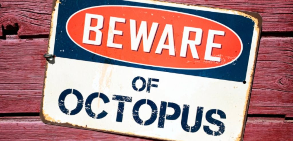 A Beware of octopus sign