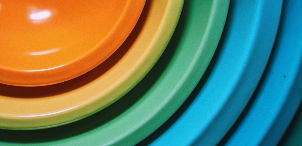 Multi coloured mixing bowls